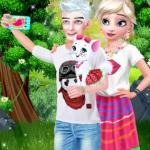 Elsa Couple Travel Selfie With Pet